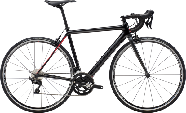 Cannondale SuperSix EVO Carbon Women's 105 Color: Black Pearl w/Graphite and Acid Strawberry