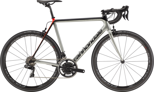 Cannondale SuperSix EVO Hi-Mod Dura-Ace Di2 Color: Sage Gray w/Jet Black and Acid Red