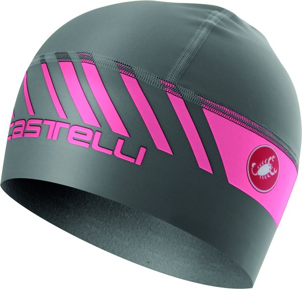 Castelli Arrivo 3 Thermo Skully Color: Dark Gray/Giro Pink