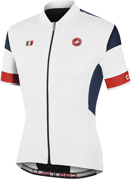 Castelli Fuga Jersey FZ Color: White/Navy Blue/Red
