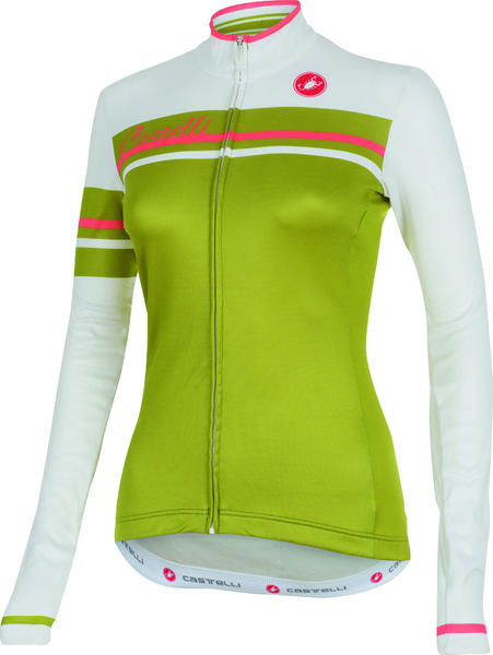 Castelli Girone Long-Sleeve Jersey FZ Color: White/Olive Green