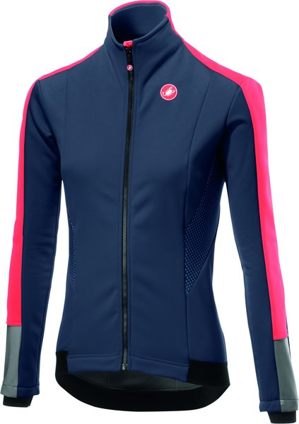 Castelli Mortirolo 3 W Jacket Color: Dark Steel Blue/Brilliant Pink