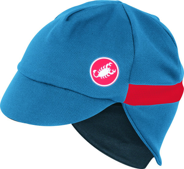 Castelli Risvolto Winter Cap Color: Moonlight Blue/Red