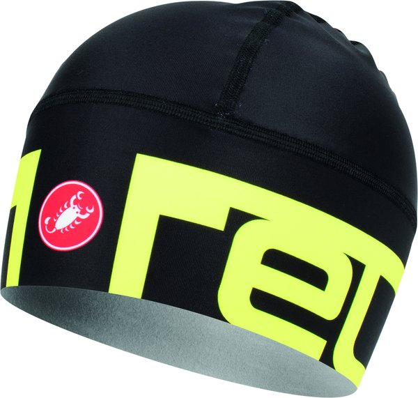 Castelli Viva2 Thermo Skully Color: Black/Yellow Fluo