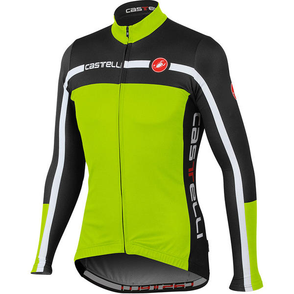Castelli Velocissimo Equipe Jersey FZ Color: Acid Green/Black