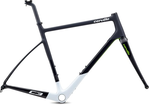 Cervelo C3 Frameset Color: Black/White/Green