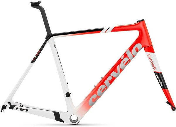 Cervelo R5 Disc Frameset Color: Black/Red/White