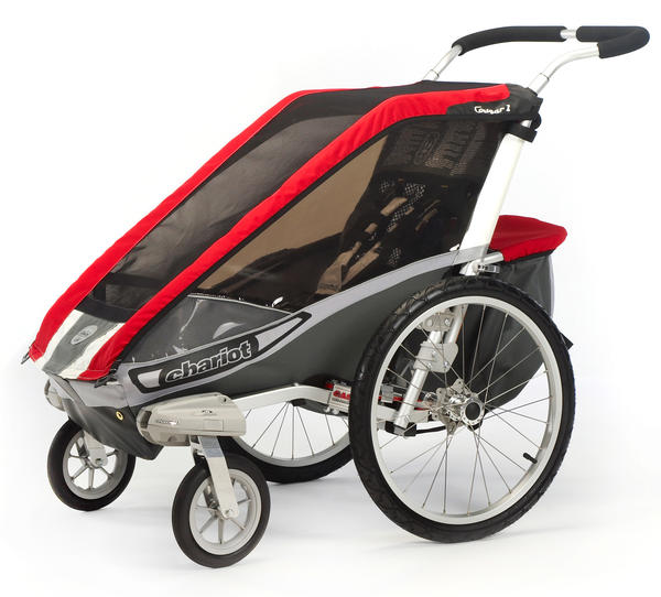 Chariot Carriers Cougar 1 Color: Red/Silver/Gray