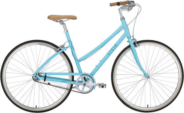 Civia Lowry Step Thru Single-Speed Color: Light Blue/Gray