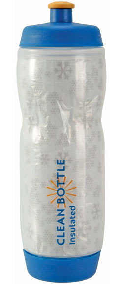 Clean Bottle Insulated Dual Cap Water Bottle Color: White/Blue