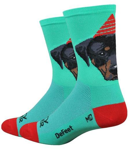 "DeFeet Aireator 6"" Party Pupper Color: Celeste w/Red"