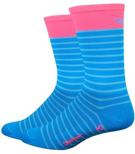 DeFeet Aireator 6-inch Sailor Color: Process Blue w/Flamingo Pink