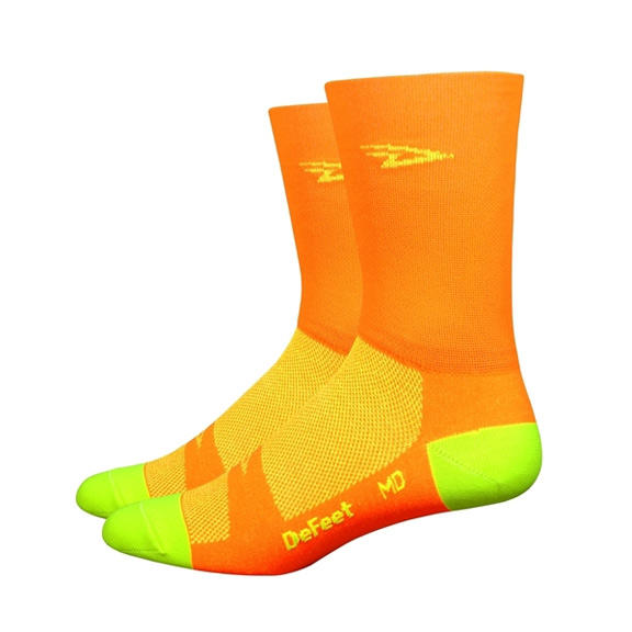 DeFeet D-Logo Hi-Visibility Hi-Top Aireator Socks Color: Hi-Vis Orange/Hi-Vis Yellow
