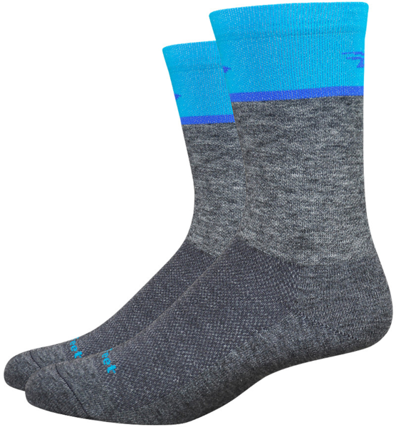 DeFeet Wooleator Comp 6-inch Team Socks Color: Grey/Blue
