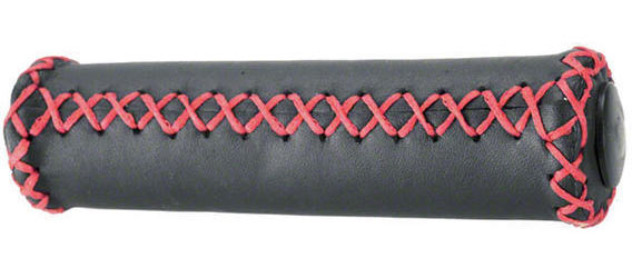 Dimension Hand-Stitched Leather Grips Color: Black/Red