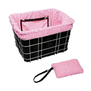 Electra Basket Liner Color: Black w/Pink Mosaic