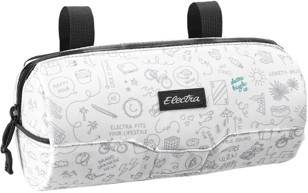 Electra Doodles Cylinder Handlebar Bag Color: White/Light Grey