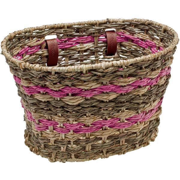 Electra Palm Frond Basket Color: Natural Espresso Pink
