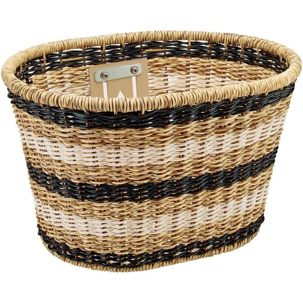 Electra Plastic Woven Basket Color: Light Brown/Black/White