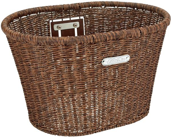 Electra Plastic Woven Basket Color: Dark Brown