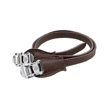 Electra Ticino Leather Toe Clip Straps Color: Dark Brown