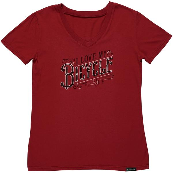 Electra V-Neck Ladies T-Shirt Color: I Love My Bicycle