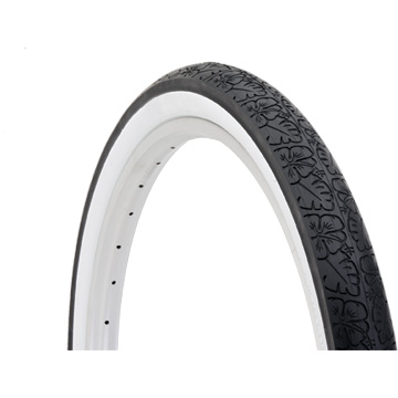 Electra Cruiser Blossom Trail Tire (Whitewall w/Flowers)