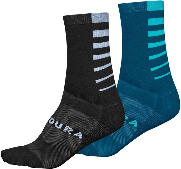 Endura Coolmax Stripe Socks (Twin Pack) Color: Black|Kingfisher