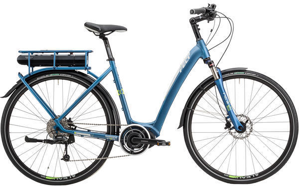 Felt Bicycles Verza-e 30 S Color: Matte Steel Blue (Silver, Lime Reflective)