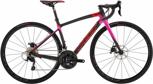 Felt Bicycles ZW4 Disc - Women's Color: Matte Carbon (Gloss Flouro Red/Purple Haze)