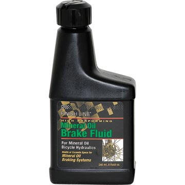 Finish Line Mineral Oil Brake Fluid The Mineral Oil Brake Fluid is available in an 8-ounce bottle.