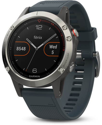Garmin fenix 5 Color: Silver w/Granite Blue Band
