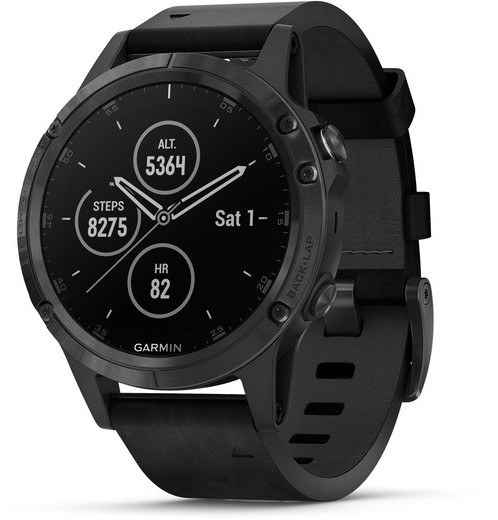 Garmin fenix 5 Plus Color: Sapphire, Black with Black Leather Band