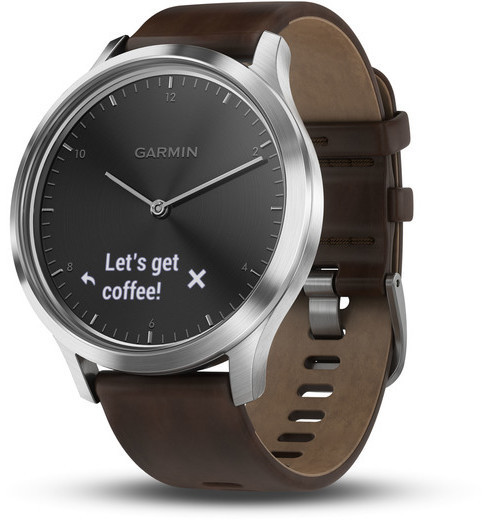 Garmin vivomove HR Color: Silver w/Dark Brown Leather Band - Premium