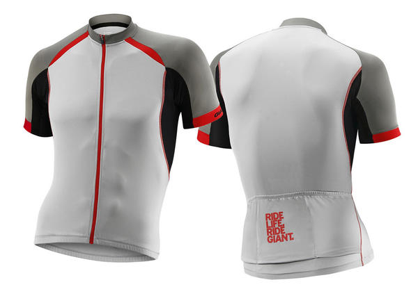 Giant Centro Short Sleeve Jersey Color: Gray/Black/Red