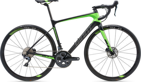 Giant Defy Advanced Pro 1 Color: Matte Carbon Smoke/Neon Green/Charcoal