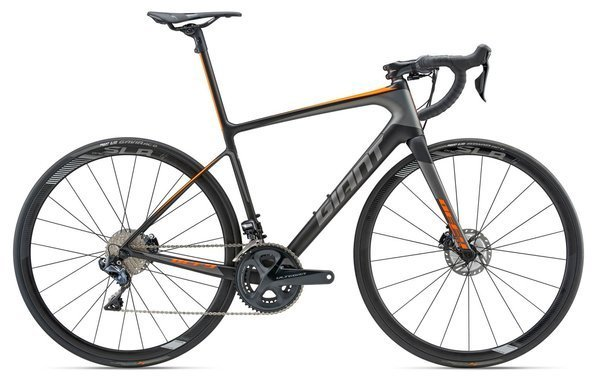 Giant Defy Advanced SL 1 Color: Matte Carbon Smoke/Grey/Neon Orange
