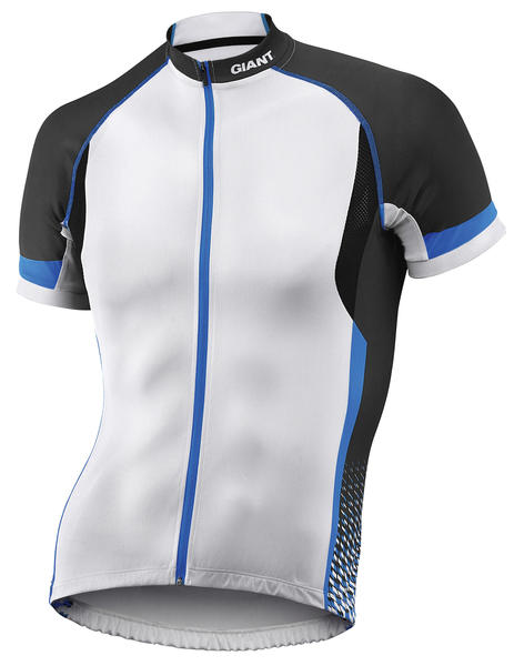 Giant Streak Short Sleeve Jersey Color: White/Black/Blue