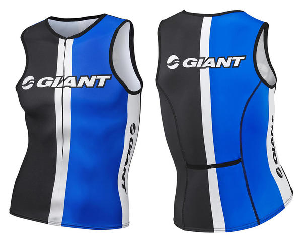 Giant Race Day Sleeveless Tri Top Color: Black/White/Blue