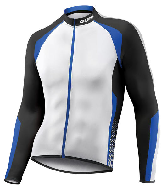 Giant Streak Long Sleeve Jersey Color: White/Black/Blue