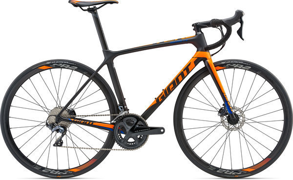 Giant TCR Advanced 1 Disc - KOM Color: Matte Carbon Smoke/Neon Orange/Electric Blue