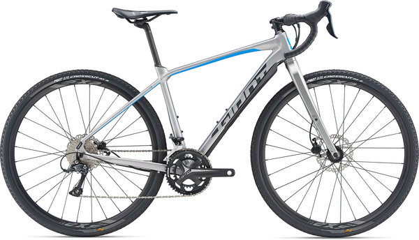 Giant ToughRoad SLR GX 2 Color: Brushed Aluminum/Vibrant Blue/Charcoal