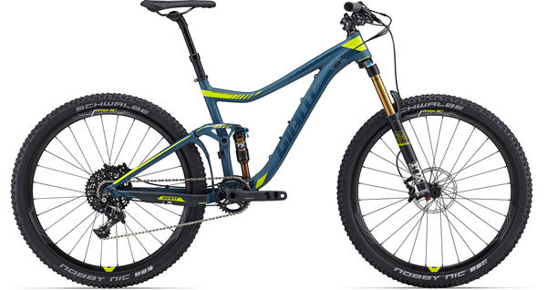 Giant Trance 27.5 1 Color: Matte Blue/Gloss Lime