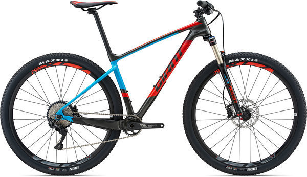 Giant XTC Advanced 29 3 Color: Charcoal/Blue/Neon Red