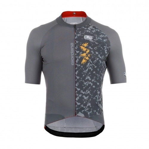 Giordana Pegoretti Scatto Pro Short Sleeve Jersey Color: Lampo - Grey/Yellow