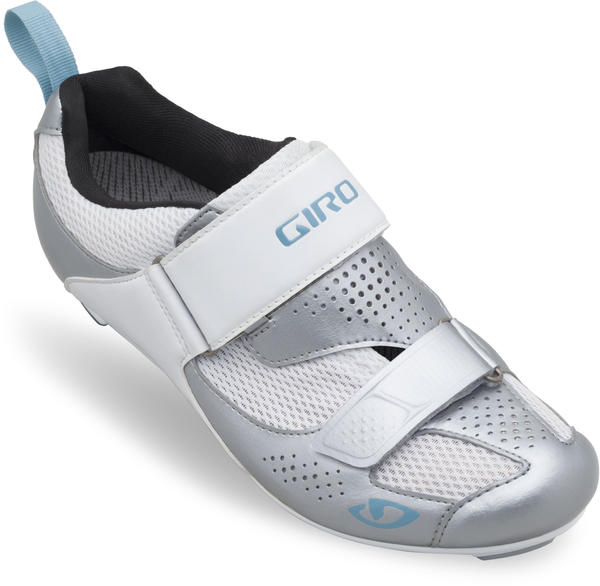 Giro Flynt Tri Shoes Color: Silver/White/Milky Blue