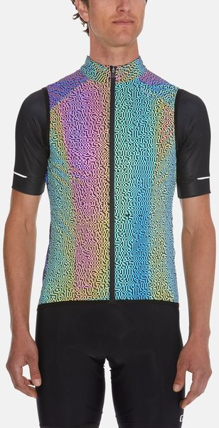 Giro Mens Chrono Expert Reflective Wind Vest Color: Electric Black Reflective Digi