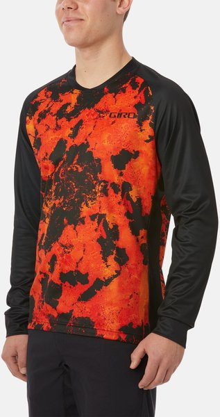 Giro Mens Roust LS Jersey Color: Deep Orange Lava