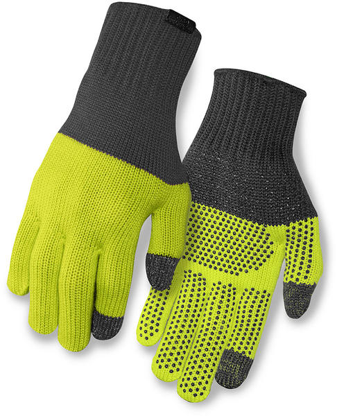 Giro Knit Merino Wool Gloves Color: Gray/Wild Lime