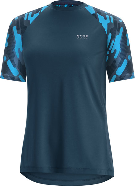 Gore Wear C5 Women Trail Short Sleeve Jersey Color: Deep Water Blue/Dynamic Cyan